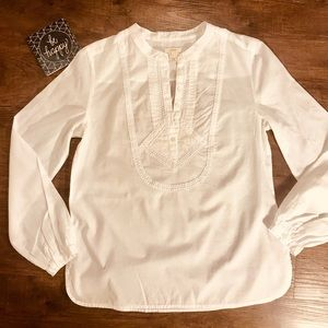 J. Crew White Cotton shirt with embroidered front
